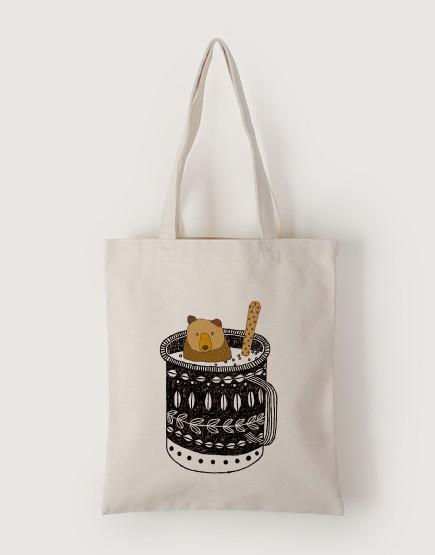 杯子裡的棕熊   帆布直式袋