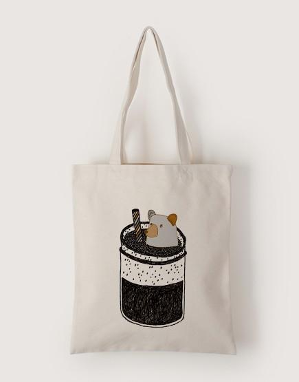 杯子裡的灰熊 | 帆布直式袋