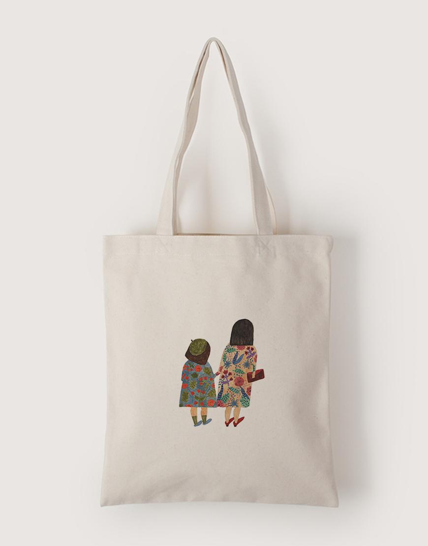 我和媽媽手牽手   帆布直式袋