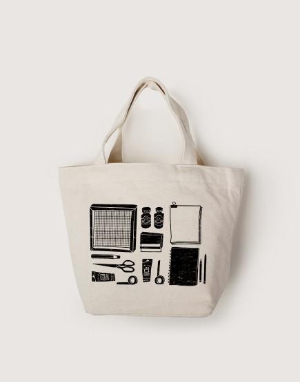 插畫家的絹印工具   帆布小托特   單層拉鍊款