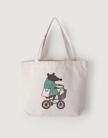 鼠叔載貓咪 | 帆布橫式袋