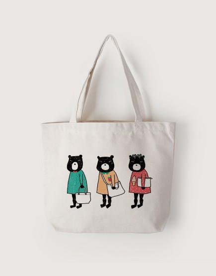 熊三隻   帆布橫式袋