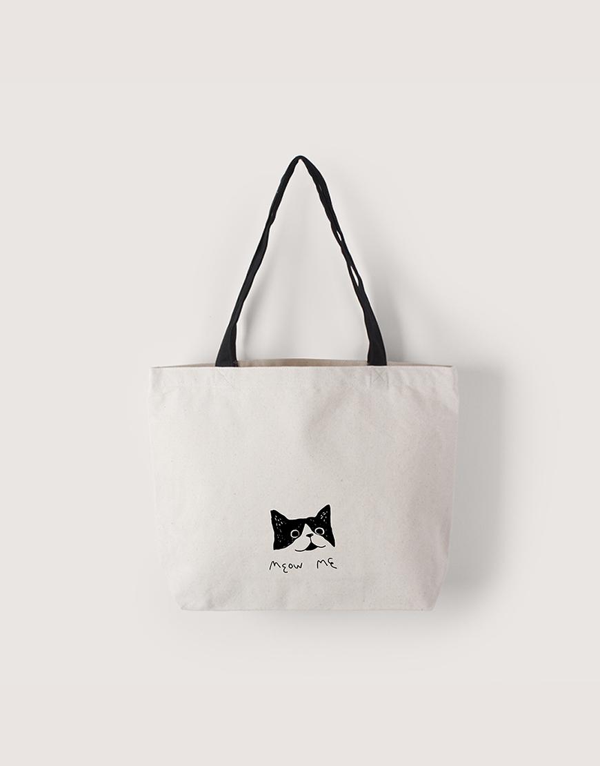Meow Me - 黑提把橫式袋