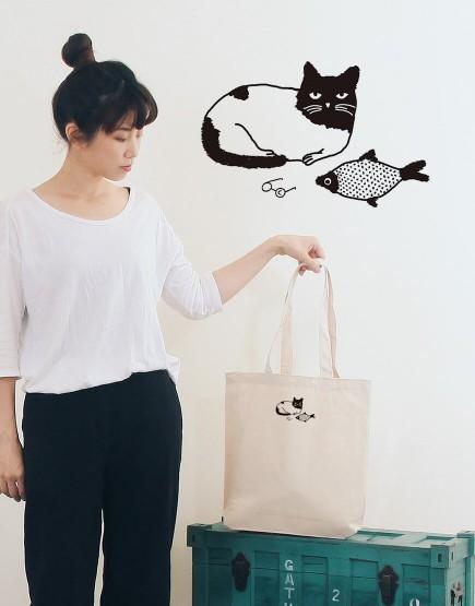 貓與魚 | 帆布直式袋 | Miss C