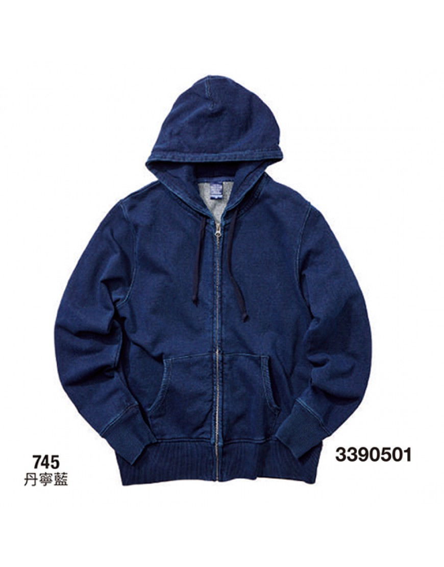 | 日本品牌 | 丹寧藍連帽拉鍊外套